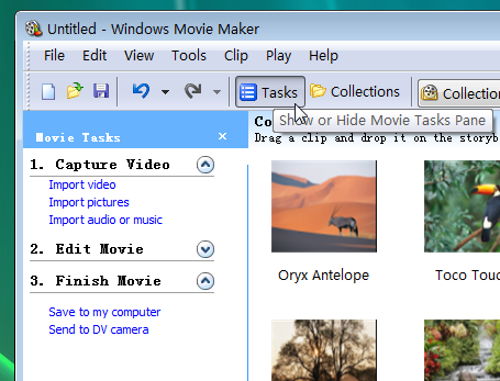show windows movie maker tasks pane